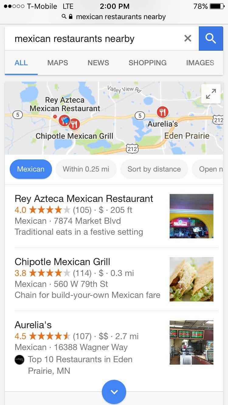 nearby restaurant local seo